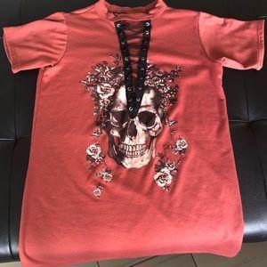 Lace up v neck oversized tee shirt.
